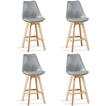 Designetsamaison Lot de 4 chaises Hautes Blanches - Gotteborg ... c663e91166fb
