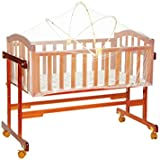 Mee Mee Baby Wooden Cradle With Swing And Mosquito Net, Brown