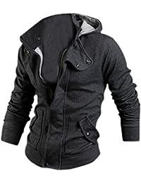SODIAL (R) Ropa de Hombres Casual delgado Diseno cremallera abrigo chaqueta sueter con capucha Tops (Gris) - XL