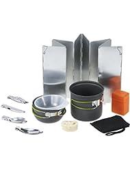 TOMSHOO 11PCS Utensilios Portátiles de Cocina Camping al Aire Libre de Senderismo Mochilero Cocina Picnic Pan