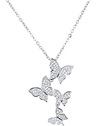 KOMO Mode Frauen 925 Sterling Silber Anhänger Halskette 9 einfache  Temperament kreative Studenten wild Schmetterling Anhänger 352ba802ed
