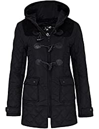 FLIRTY WARDROBE Womens Duffle Style Jacket Quilted Hooded Toggle Long Coat Pocket Zipper Casual