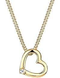 Diamore Women's 925 Silver Gold Plated Heart Love Classic Engagement Diamond 0.02 ct Necklace