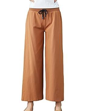 Pantalones de Mujers Tallas Grandes Anchos Pierna Cintura Elástica