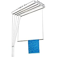 RAINBOW DRYWELL 5 Pipes Luxury Stainless Steel Cloth Dryer (7 Feet, White and Silver)