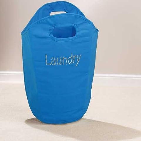 Diamante Washing Ironing Laundry Bag Basket Blue New by Beamfeature