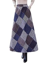 Damen Vintage Elegant Plaid Gestreiftes Wollrock hohe Taille Langen röcke  Mädchen Warm Wolle Retro Winterrock Herbst 4621bfb0a3