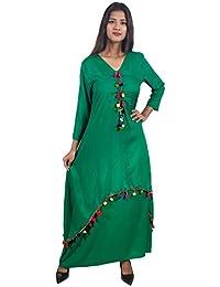 f6d2ebadde Secret Bazaar Women s Rayon Plain Pom Pom Decorated Layered Fit and Flare  Dress(Green)