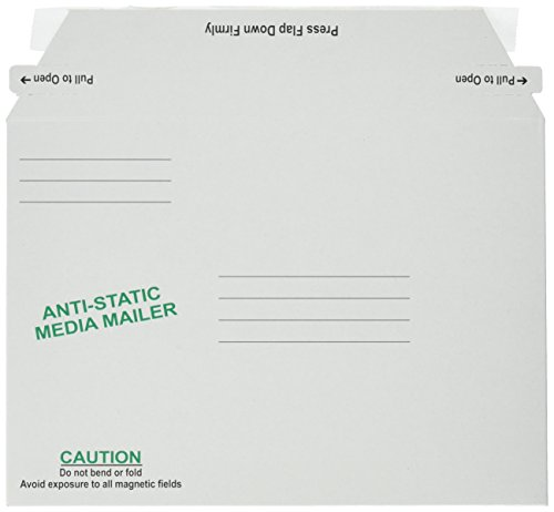 Antistatic Fiberboard Disk Mailer, 6 x 8 5/8, White, Recycled, 25/Box
