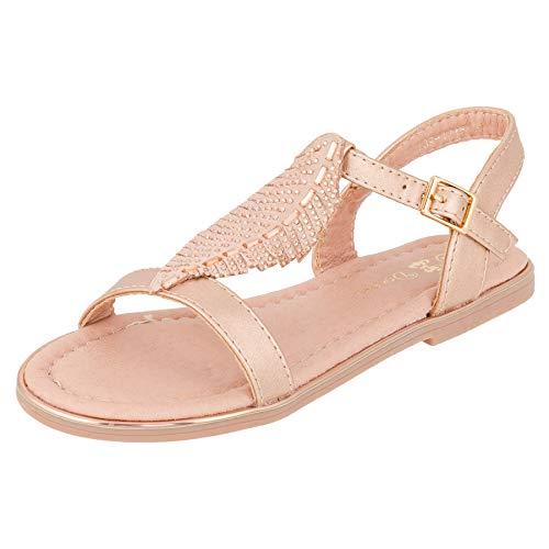 Modische Mädchen Sandalen Sandaletten Kinder Schuhe in Glitzeroptik mit Schnalle M546rsgo Rosa Gold 31 EU