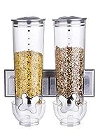 Semplice ma dal design elegante Doppia dispenser per cereali che viene fornito con un supporto a parete per risparmiare spazio. Progettato per preservare la freschezza e il sapore. Dimensioni approssimative: 31x 5cm