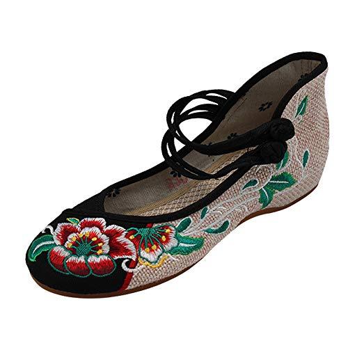 Yudesun Frauen Old Beijing Lässig Schuhe - Damen Chinesisch Traditionell Stickerei Schwarz Schuhe Tuch Jahrgang Leinwand Gehen Sport Tanz Wohnung Mary Jane Shoe