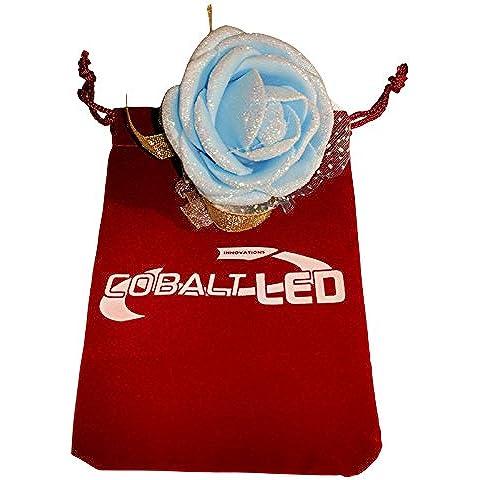 Cobalt® Damigella d' onore da polso, elegante matrimonio fiore di rosa (Bridal Capelli) (Cobalt Blue Led)