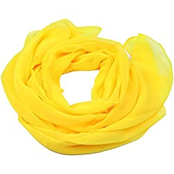 Emorias 1 Pcs Pañuelo de Señora Mujer Chal Protector Solar Fulares Cozy Ropa Accesorios Color sólido Bufanda - Amarillo