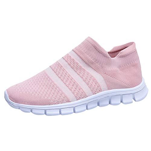 Frauen Turnschuhe Die Beiläufige Breathable Ineinander Greifen-Bequeme Gestreifte Mode für Kursteilnehmer Laufen Lassen(Pink,37)