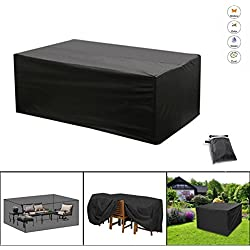 NBD® Funda protectora para mesa de jardín, Cubierta de Protección para Muebles de Jardín con cinta ajustable Contra el Sol de Lluvia de tamaño: 200 x 160 x 70 cm