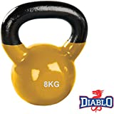 DIABLO Yellow Powder Coated Solid Cast Iron Kettlebell Weights (Weight 8KG)