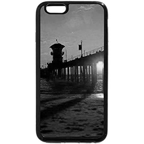 iPhone 6S Case, iPhone 6 Case (Black & White) - Sunset at Huntington Beach Pier