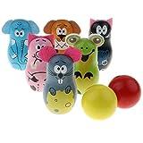 Homyl Holz Bowling Set Kegelspiel Spiele Bowlingkugel Kegel, Kinder Pädagogische Spielzeug, 2 Bälle und 6 Kegel