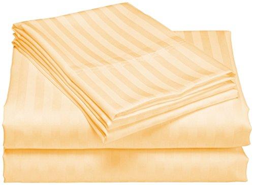 König Tief Spannbetttuch (SCALABEDDING 100% ägyptische Baumwolle, 400TC Tasche tief Spannbetttuch König Orange gestreift)