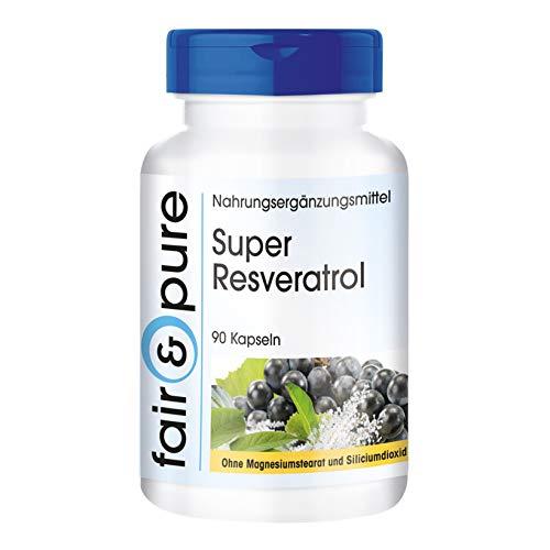 Super Resveratrol, natürliches Trans-Resveratrol aus Knöterich mit Bioflavonoiden, 90 Kapseln, Reinsubstanz, frei von Hilfs- und Zusatzstoffen, vegetarisch
