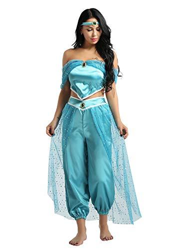 Tiaobug Damen Prinzessin Kostüm Set Pailletten Crop Top + Lange Weite Hose + Stirnband mit Strass Verkleidung für Karneval Fasching Cosplay Party Tanz Blau XXL