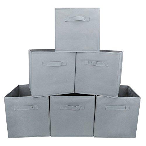 EZOWare 6er-Pack Aufbewahrungsbox Faltbare Aufbewahrungskiste faltbox und weichem Stoff in Würfelform - Grau