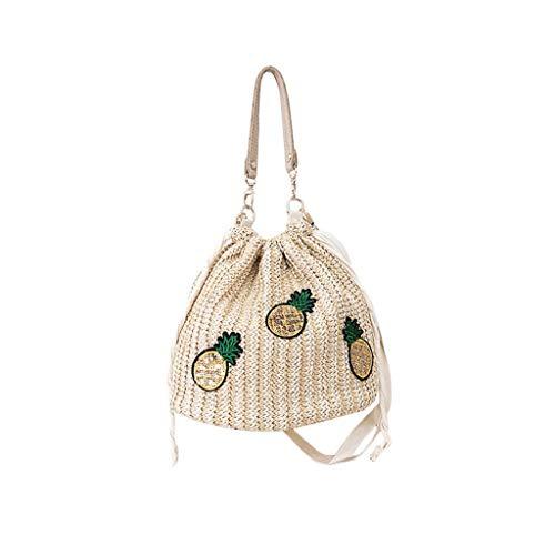 Mitlfuny handbemalte Ledertasche, Schultertasche, Geschenk, Handgefertigte Tasche,Damenmode Ananas Umhängetasche Einfarbig Handtasche Gewebt Tasche Strandtasche (Casio Edge)