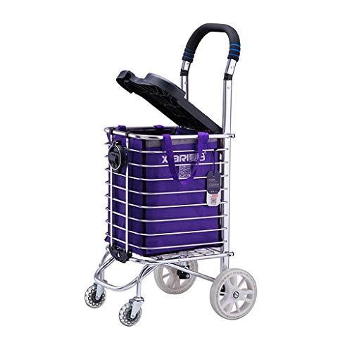 Trolley Dolly Stair Climber, Carro portátil plegable con asiento, Carro de la compra en el hogar adecuado para personas mayores (Tamaño : 4 wheel)