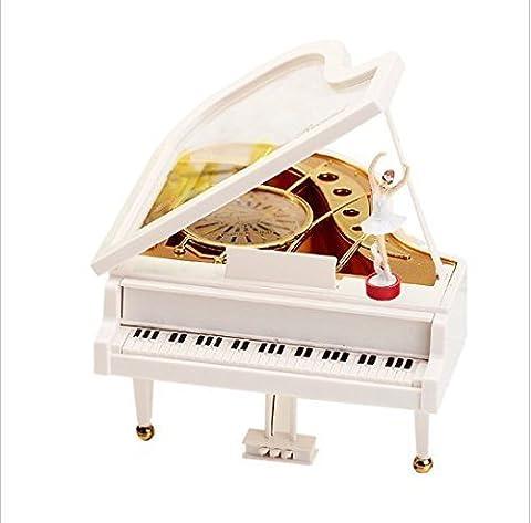urgrace weiß Piano Music Box bodenstehend Tänzerin Uhrwerk Typ Rotary Klassische Mechanische einzigartige Ballerina Spieluhr Mädchen am Piano Tanzende Ballerina Musik Box Valentinstag Geburtstag Xmas Geschenke Home Decro