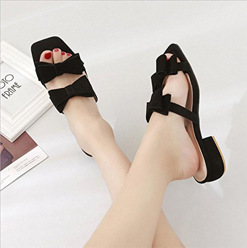 Style aprire-piantato sandali da donna scarpe casual parola testa quadrata di spessore con pattini dell'allievo selvatici Black