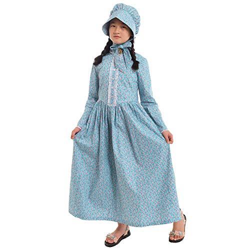 Kolonialen Halloween Kostüm - GRACEART Reenactment Pionier Prärie Kolonialen Mädchen Kostüm (US Size-06, Blau)