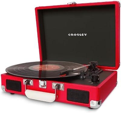 Crosley Cruiser - Tocadiscos de vinilo portátil (3 velocidades, altavoces estéreo integrados, con enchufe EU) diseño maletín, rojo
