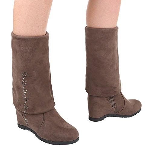 Damen Overknee Stiefel Schuhe Leicht Gefütterte Schwarz Grau Braun 36 37 38 39 40 41 Hellbraun