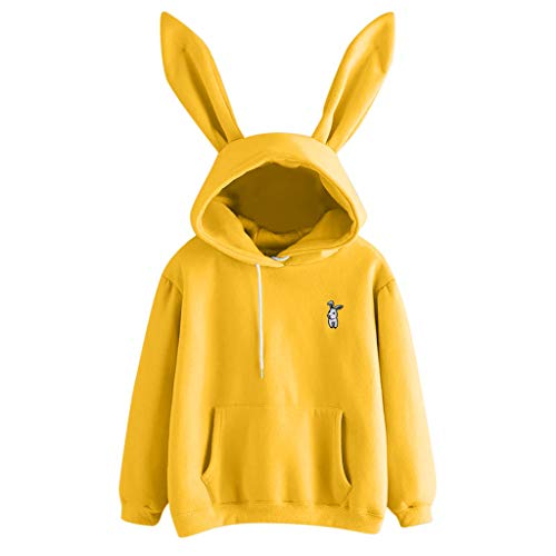 Damen Kapuzenpullover Lange Ärmel Hoodie Pullover Ronamick damen Long Sleeve Kaninchen Hoodie Sweatshirt Pullover Tops Bluse(L, Gelb) Terry Jumper