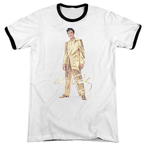 Elvis - Männer Gold Lame Anzug Ringer T-Shirt, X-Large, ()