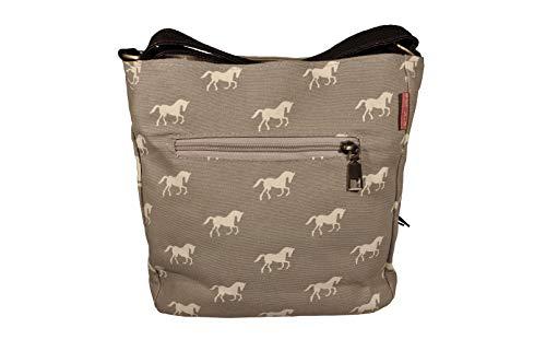 K:s me Schultertasche mit Pferden grau  Umhängetasche Mädchen  Geschenkidee