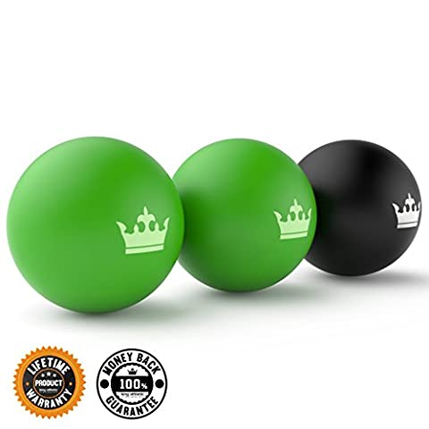 Lacrosse Muscle Roller Ball Set | Massage Balls for Deep Tissue, Trigger Point & Myofascial Release | Premium Quality Lacrosse Style Rubber Balls | 100% Money Back Guarantee and Lifetime Warranty - Green