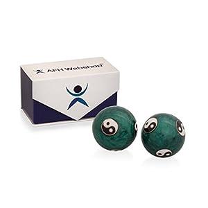 Meditation Qi-Gong-Kugel Paar mit Klangwerk | Klangkugeln | Yin Yan | Design YIN YANG GRÜN | mit hochwertiger und wiederverschließbaren Aufbewahrung Magnetbox