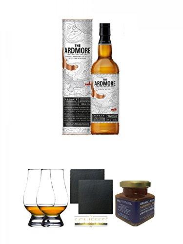 Legacy-schiefer (Ardmore Legacy Single Malt Whisky 0,7 Liter + The Glencairn Glass Whisky Glas Stölzle 2 Stück + Schiefer Glasuntersetzer eckig ca. 9,5 cm Ø 2 Stück + Glenfarclas 21 Jahre Whisky Orangen Gelee 150 Gramm Glas)