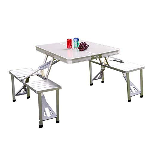 YY&L Table Chaises Pliantes en Aluminium - Table De Pique-Nique Portable, Camping, Plage, Pêche, Barbecue, Jardin - Adapté Aux Activités De Plein Air - 85.5Cm / Silver