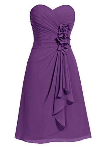 HWAN Frauen A Linie Blumen Schatz Kurze Brautjungfer Kleid Abendkleider (Abendkleider Von Jovani)