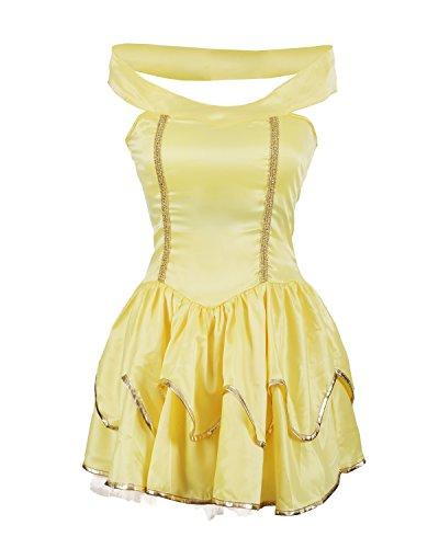 enkleid Kostüm von Emma's Wardrobe - Beinhaltet gelbes, trägerloses Kleid mit angenähtem Tutu Unterrock - Atemberaubendes Prinzessinnenkostüm für Halloween, Junggesellinnenabschied oder Mottoparty - EU Größen 34-44 (36/38, Yellow) ()