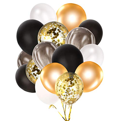 ld Konfetti Luftballons Set für Hochzeit Braut Baby Shower Party Geburtstag Dekoration 12 Zoll Latex Luftballons - Schwarzes Gold Milchig Weiß Tief Gold Goldene Pailletten ()