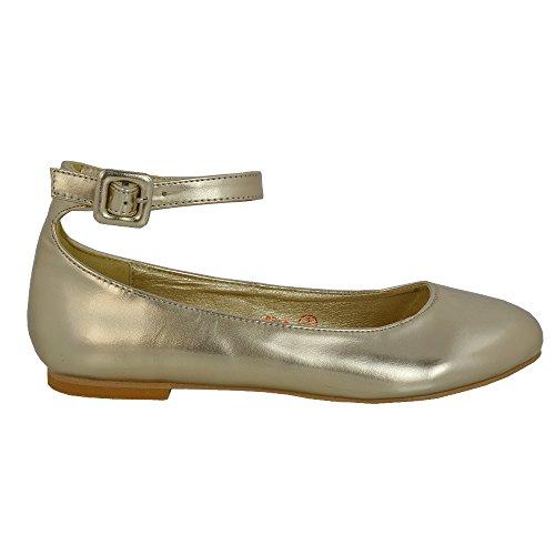 ESSEX GLAM Scarpa Donna Sintetico Ballerina Cinturino Caviglia Tacco Piatto Sposa Oro metallizzato