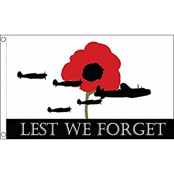 LEST WE FORGET FLAG 5/' x 3/' WW1 WW2 Remembrance Poppy Armed Forces Day Army RAF