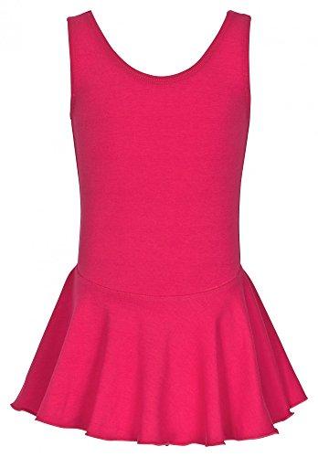 """tanzmuster Kinder Ballett Trikot """"Nora"""" - Ballettanzug mit Röckchen. Hübsches Ballettkleid mit breiten Trägern in pink, Größe:140/146"""