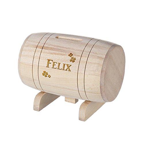 polar-effekt Spardose aus Holz - Sparbüchse Form Fass mit GravurGeschenk für jeden Anlass - Motiv Kleeblatt