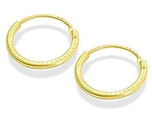 Boucles d'oreilles mini créoles or 9ct avec diamant à charnières 11 mm