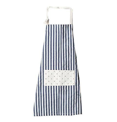 CAOLATOR Japon Océan Style Rayures Coton et lin Tablier Arbre de triangle Accueil Ménage Cuisine Tablier sans manches Rayures (Bleu)